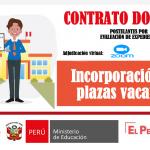 Incorporación de plazas vacantes al proceso de contrato docente por evaluación de expedientes