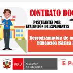 Reprogramación de adjudicación de plazas para contrato docente nivel Basica Especial