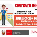 Adjudicación plaza docente nivel primaria – secundaria