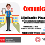 Plaza vacante para contratación docente, nivel secundaria especialidad Comunicación