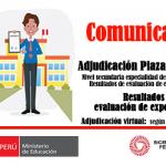 Resultados preliminares evaluación de expedientes,  nivel secundaria, especialidad comunicación