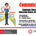 Convocatoria para contrato docente, modalidad Educación Básica Alternativa,