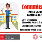 Plaza vacante para contrato docente, nivel secundaria – especialidad EPT