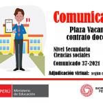 Plaza vacante para contrato docente, nivel secundaria – ciencias sociales
