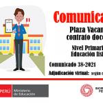 Plaza vacante para contrato docente, nivel primaria – educación física.