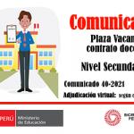 Adjudicación de plaza vacante para contrato docente, nivel secundaria de la especialidad de matemáticas